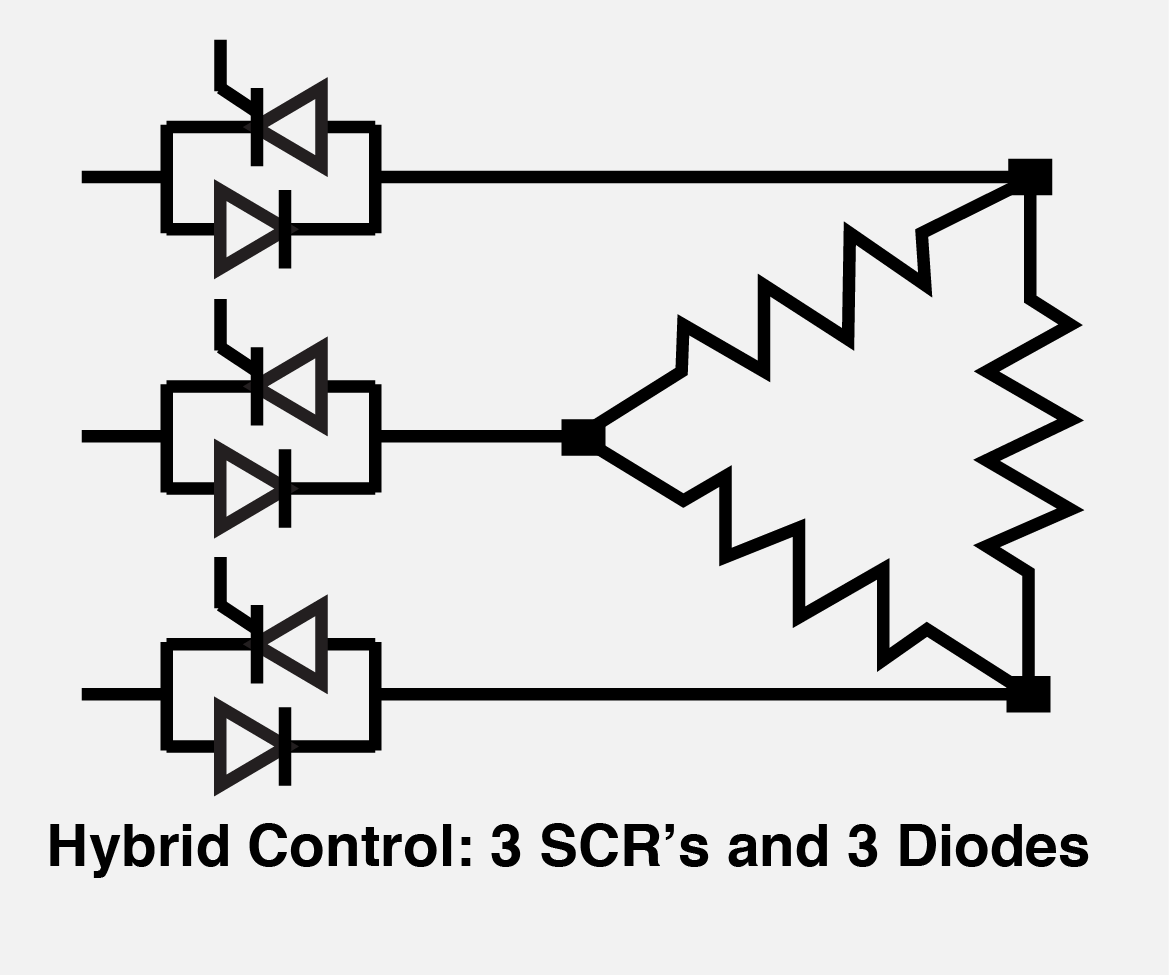 Hybrid Control: 3 SCRs and 3 Diodes